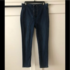 Free People tie up stretchy jeans